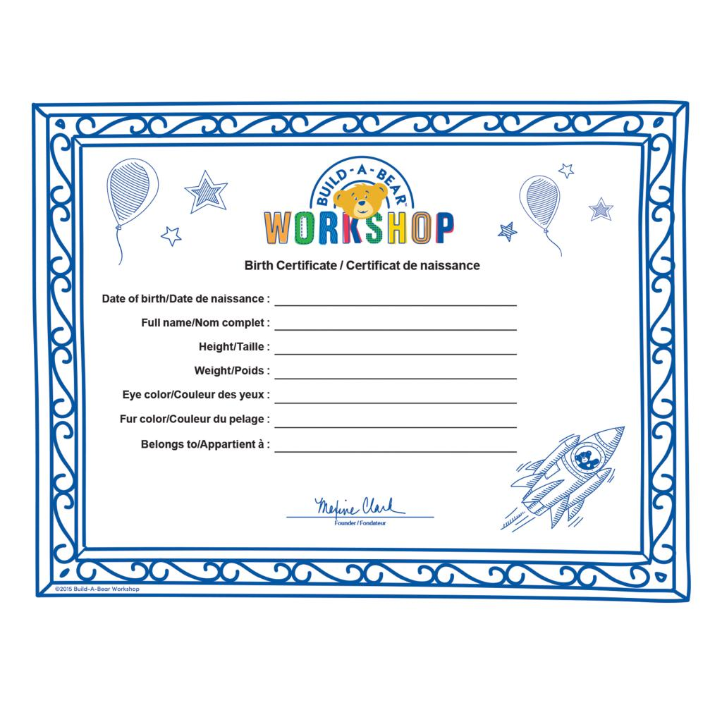 build a bear birth certificate template spin master build a bear build a bear workshop furry
