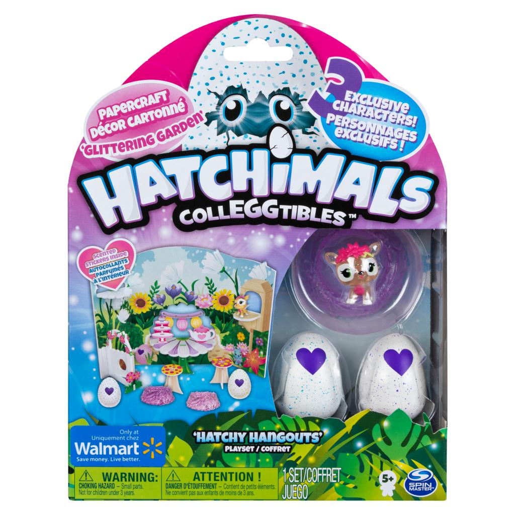 Hatchimals CollEGGtibles, Glittering Garden Hatchy Hangouts Papercraft Playset with 3 Exclusive Characters, Only Available at Walmart