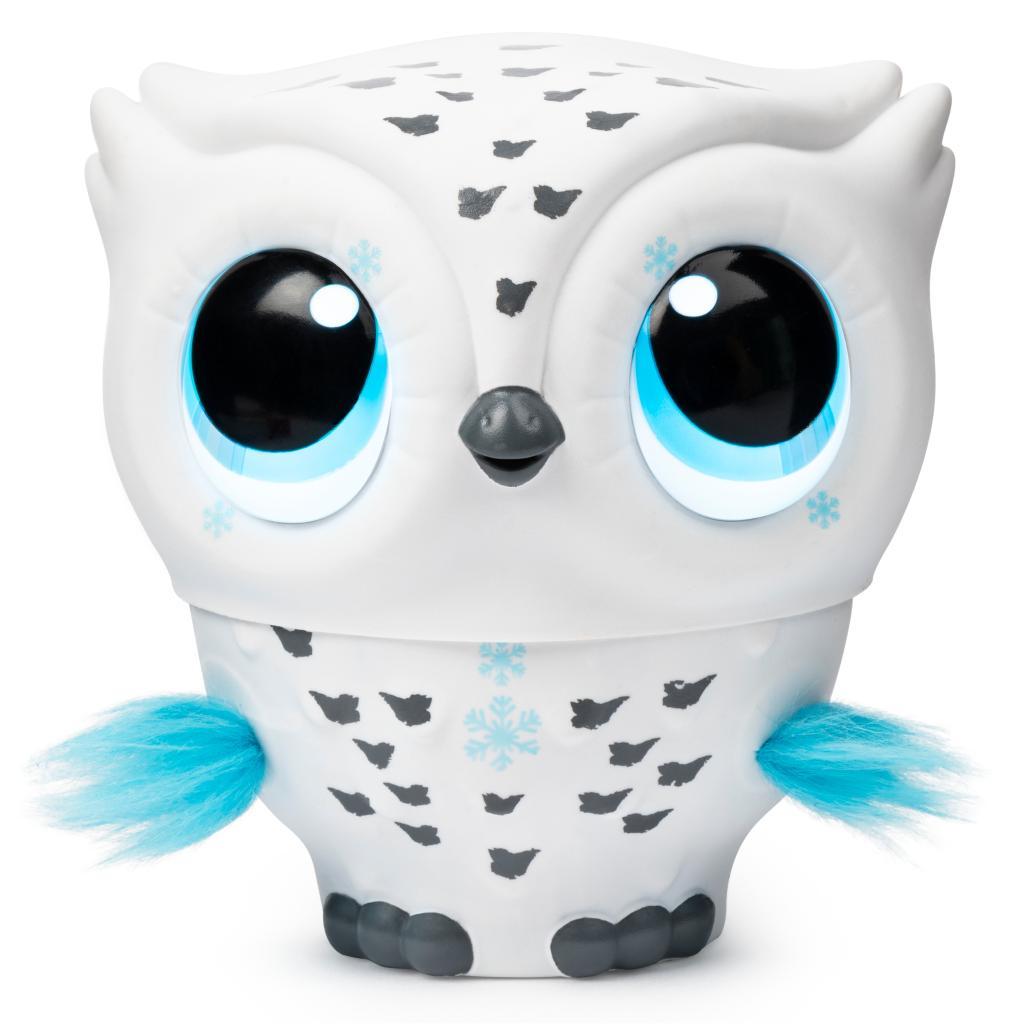 Owleez: fliegende interaktive Spielzeug-Babyeule mit Leuchteffekten und Sound, weiß