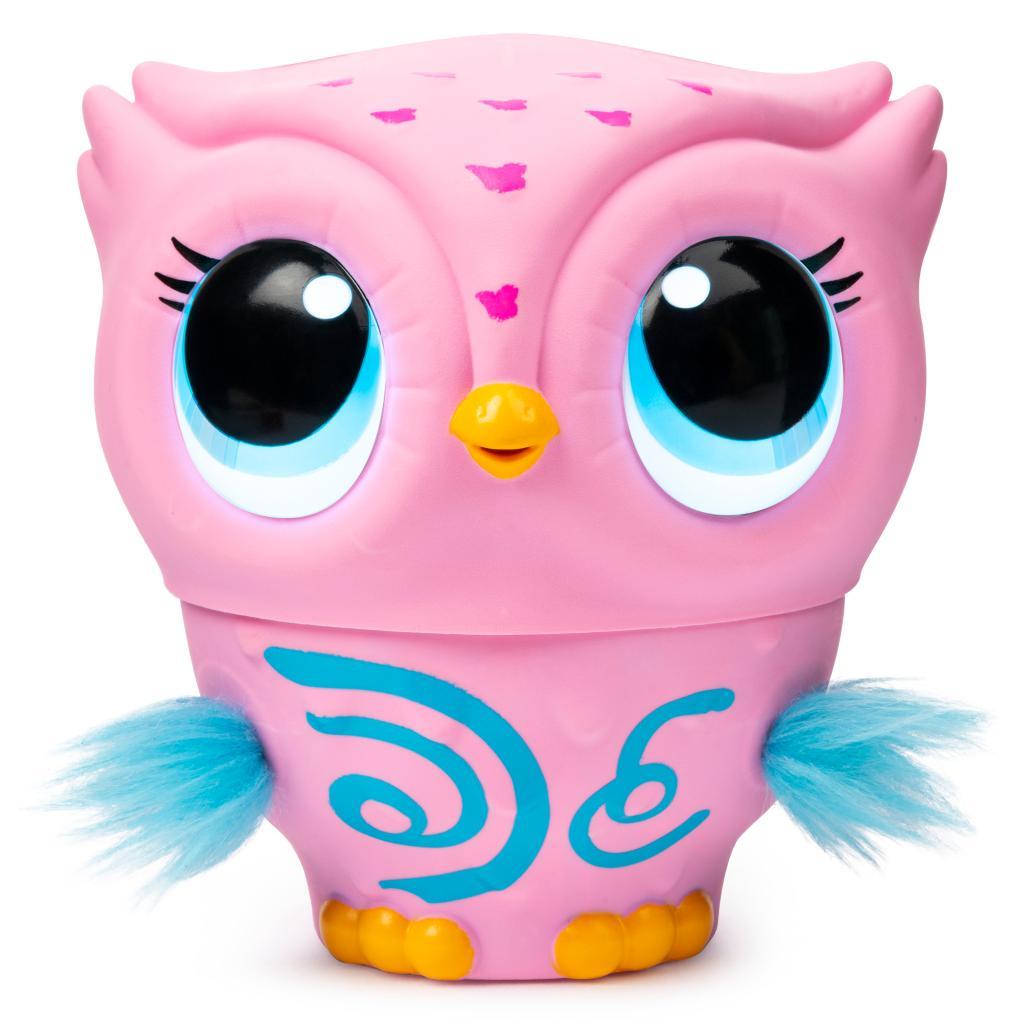 Owleez déco roses, animal interactif volant avec sons et lumières, à partir de 6 ans