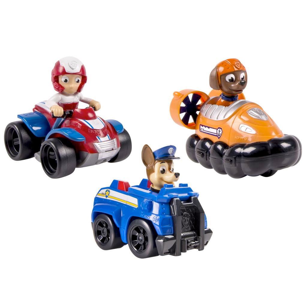 spin master paw patrol rescue racers 3pk vehicle set chase zuma ryder. Black Bedroom Furniture Sets. Home Design Ideas